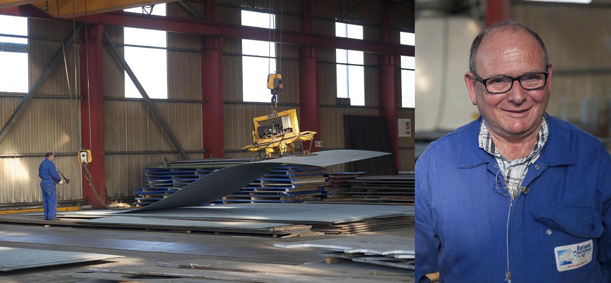 Reportage photo d'un site industriel, Bretagne Oxycoupage, salarié au travail