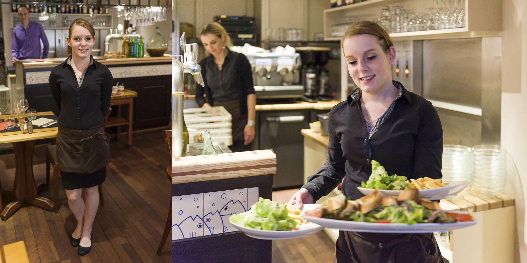 reportage photo, serveuse dans une brasserie vannetaise.