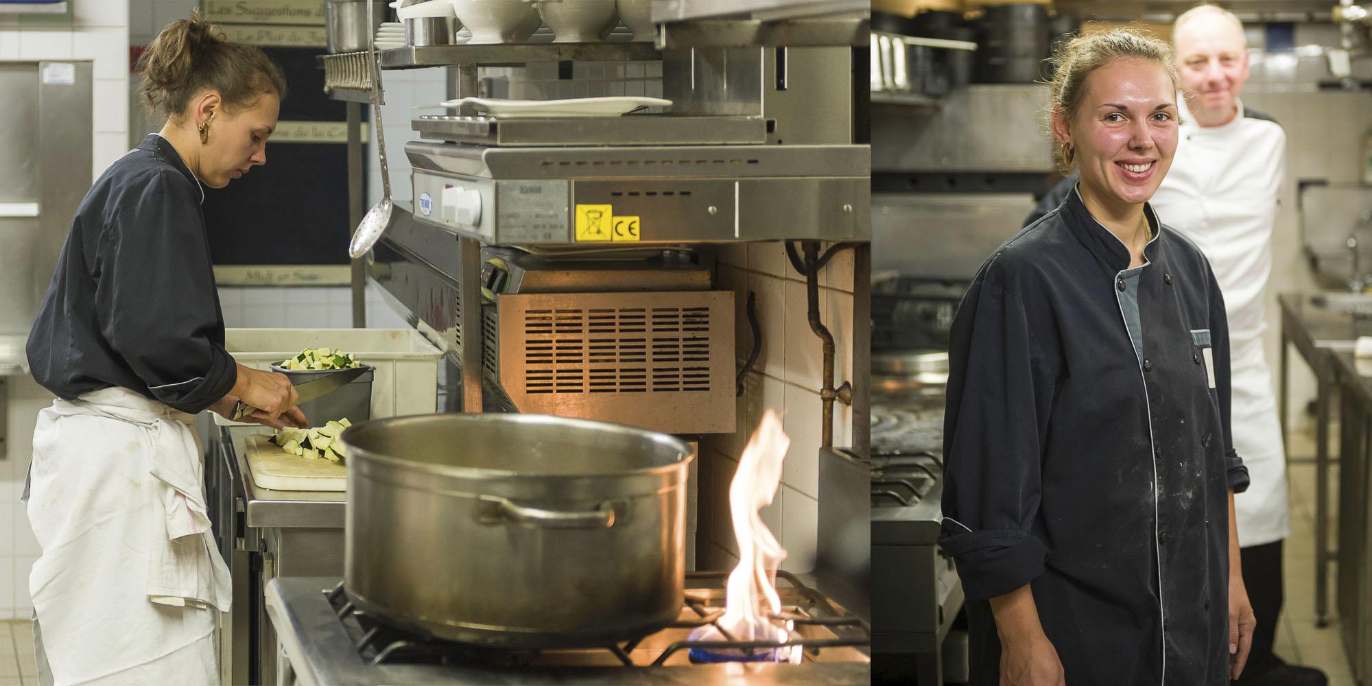reportage photo, cuisiniere au travail dans une brasserie à Vannes