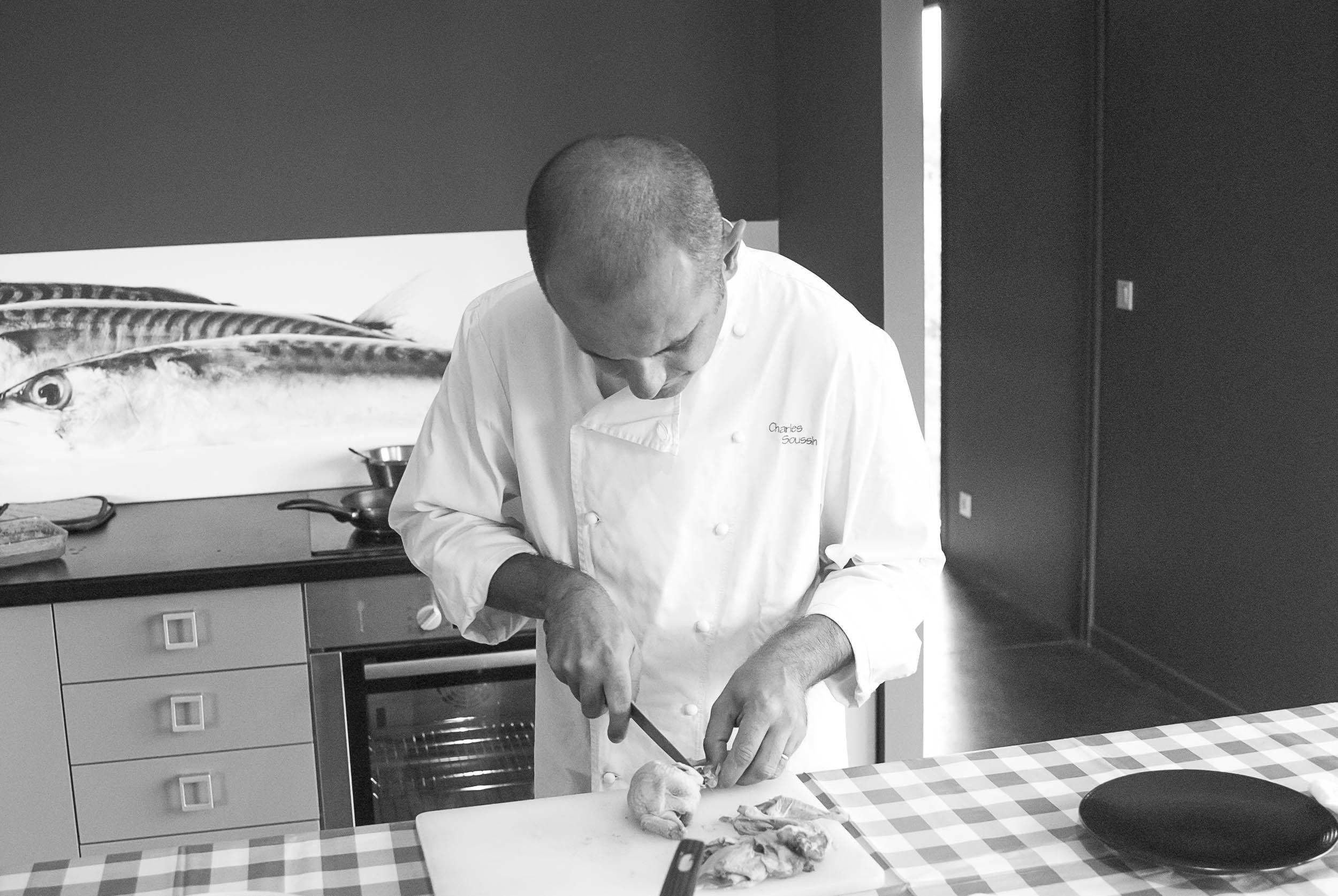 prise de vue culinaire, Charle Soussin cuisinier au studio de prise de vue