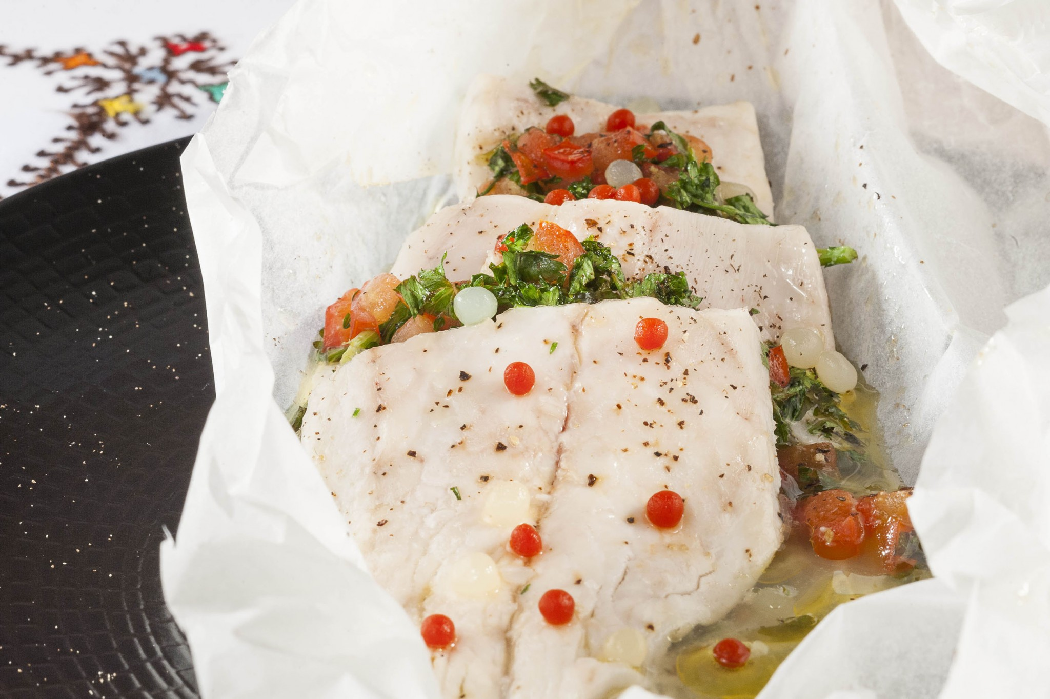 photographie culinaire, poisson en papilote