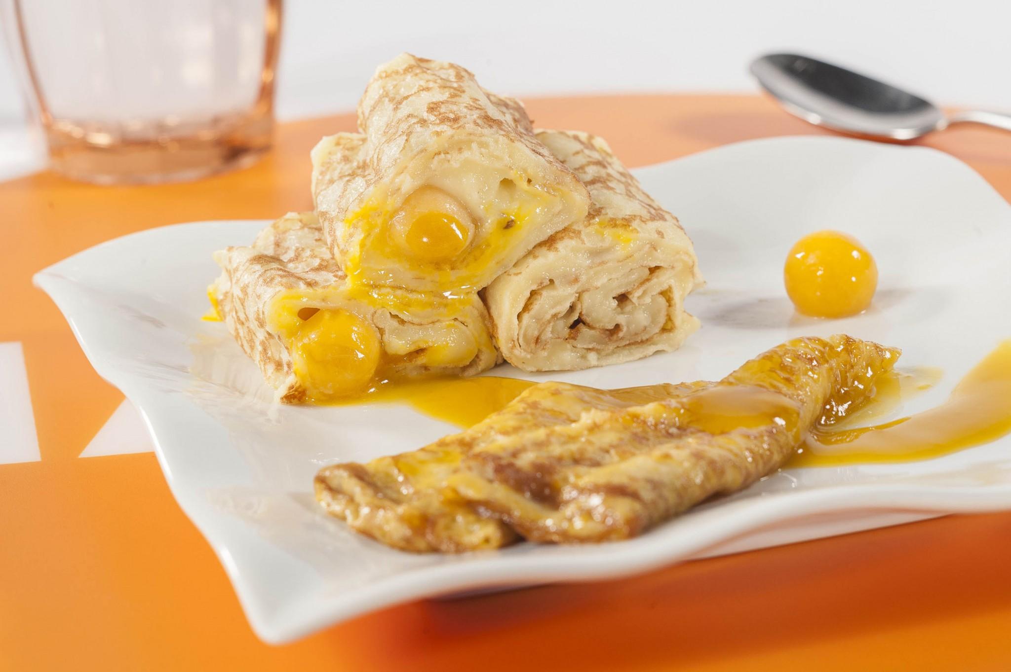 photographie culinaire, crepe et bille de mangue