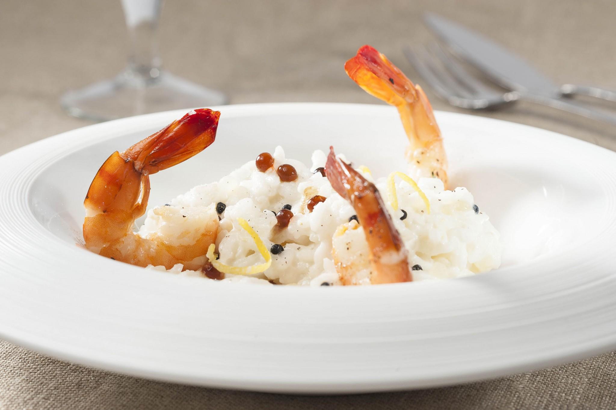 photographie culinaire, crevette et rizotto
