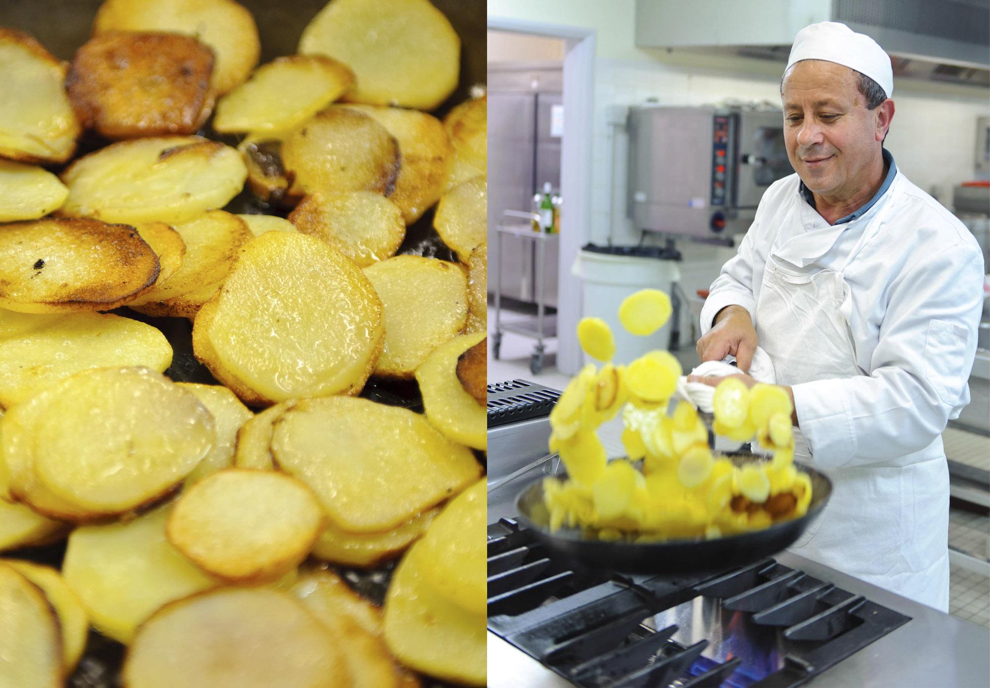 Prise de vue culinaire, cuisinier fesant sauter des pommes de terres
