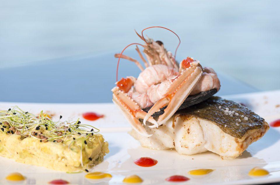 photographie culinaire dos de cabillaud et langoustine